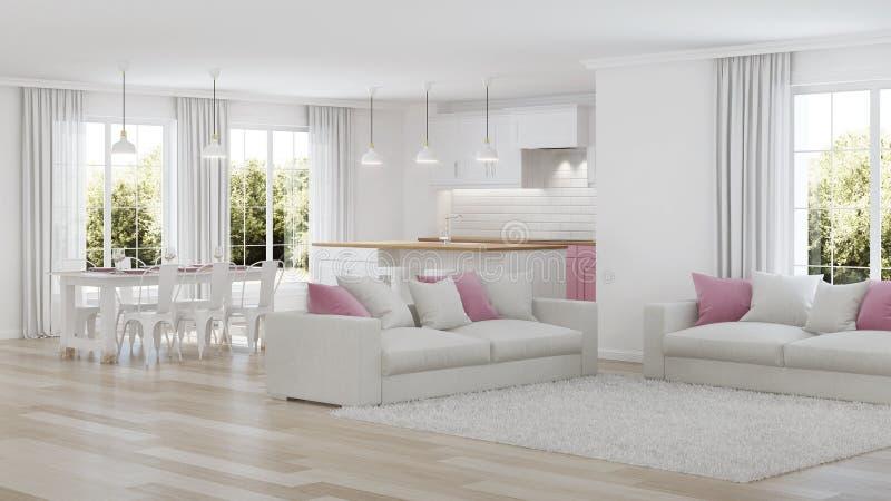 inre modernt för hus inre white royaltyfri foto