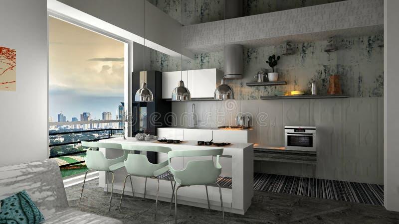 inre modernt för lägenhet royaltyfri illustrationer