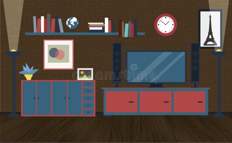 inre modernt för sovrum stock illustrationer