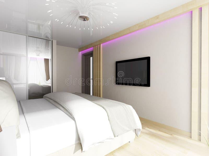 inre modernt för sovrum tolkning för 3 D vektor illustrationer