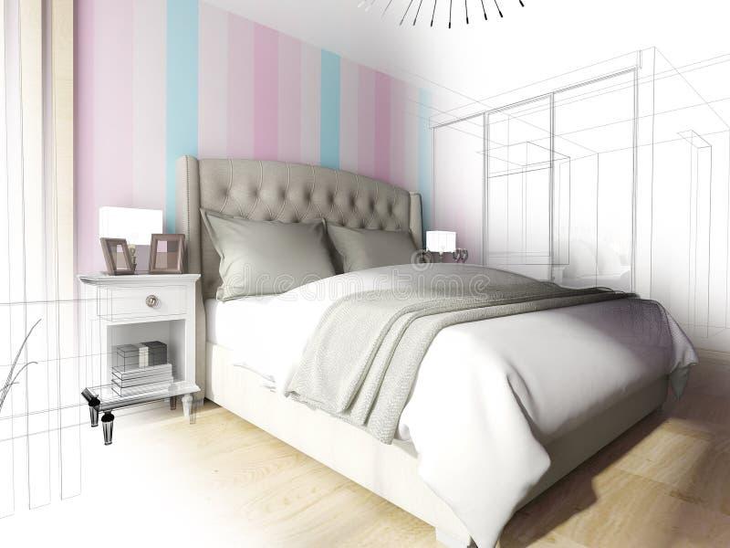 inre modernt för sovrum tolkning för 3 D stock illustrationer