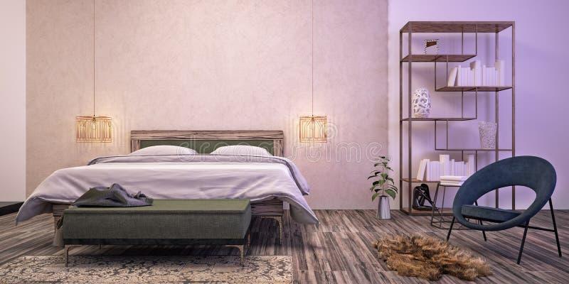 inre modernt för sovrumdesign stock illustrationer
