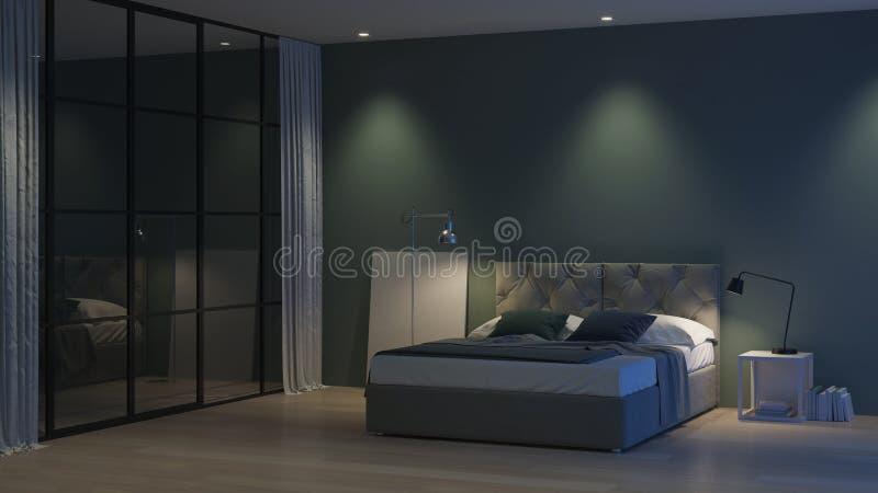 inre modernt f?r hus Inre sovrum med exponeringsglasdelningar royaltyfria bilder