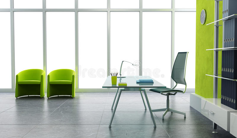 inre modernt kontor 3d vektor illustrationer