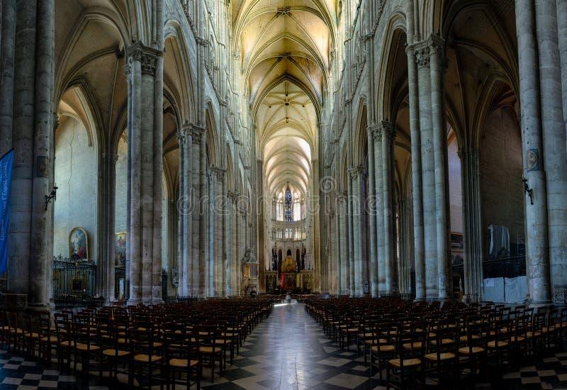 Inre och detalj av den Amiens domkyrkan i Frankrike royaltyfria foton