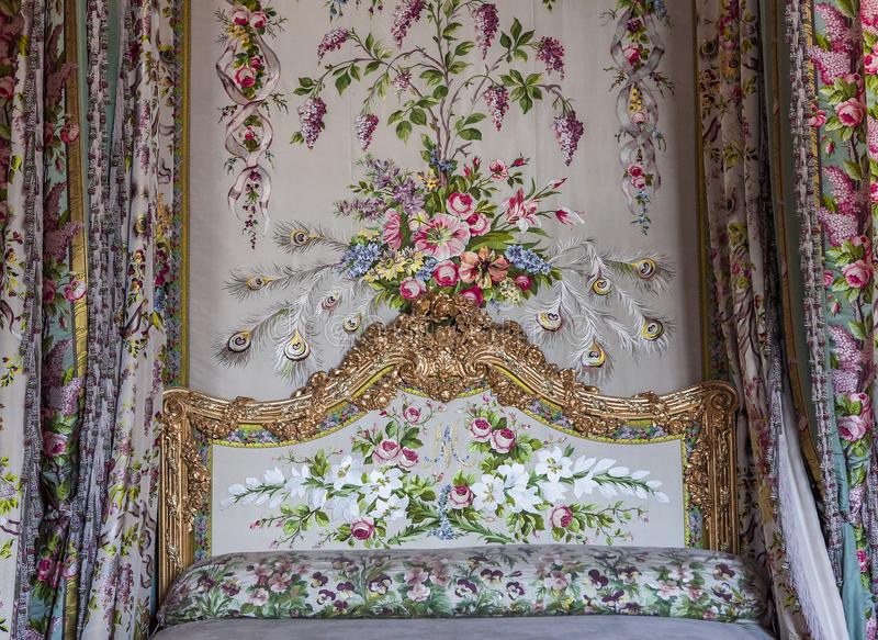 Inre och detaljer av chateauen de Versailles, Frankrike fotografering för bildbyråer