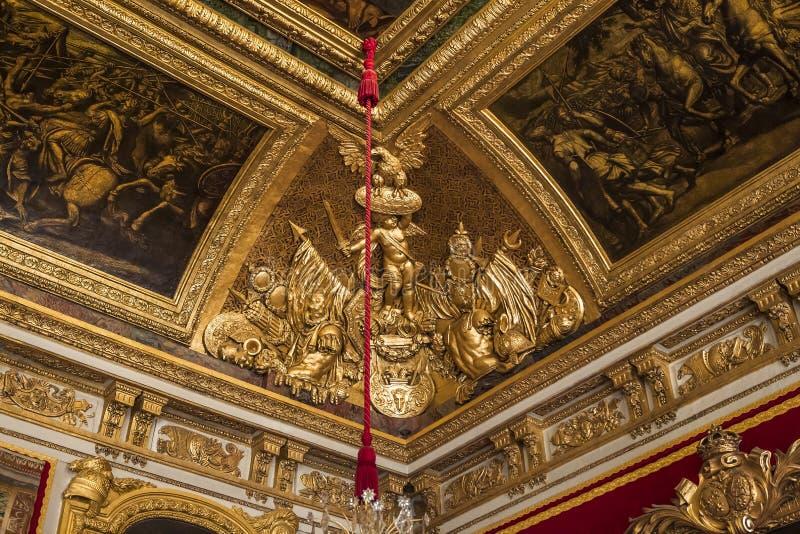 Inre och detaljer av chateauen de Versailles, Frankrike arkivfoto