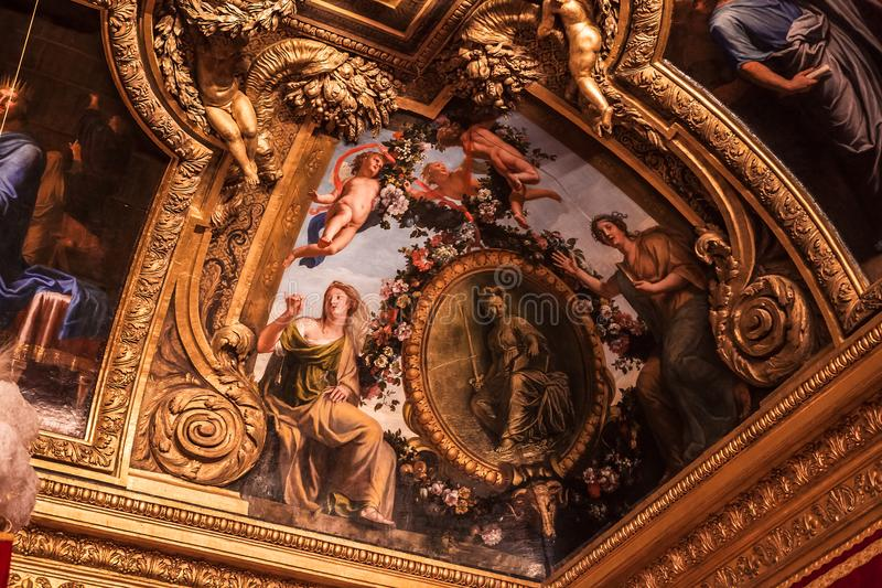 Inre och detaljer av chateauen de Versailles, Frankrike arkivbilder