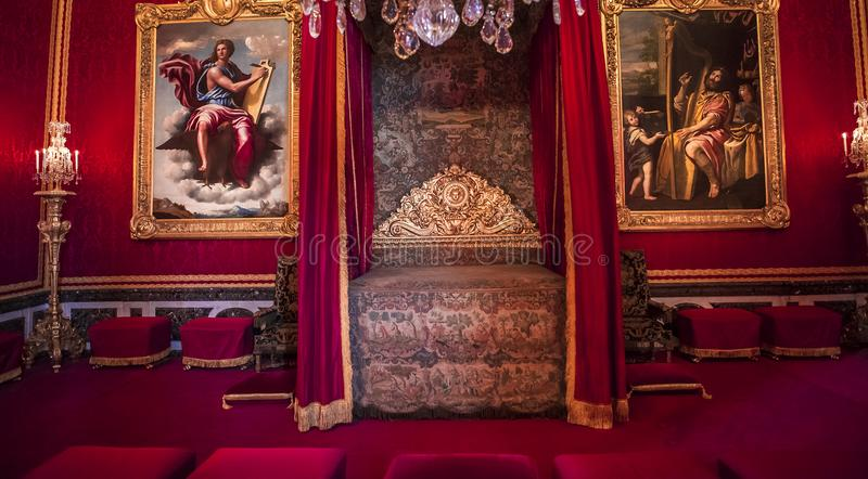 Inre och detaljer av chateauen de Versailles, Frankrike arkivbild