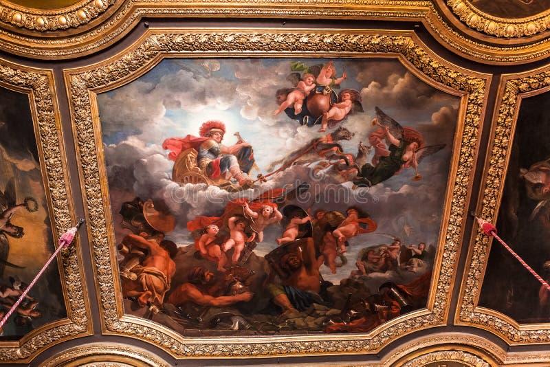 Inre och detaljer av chateauen de Versailles, Frankrike royaltyfri fotografi