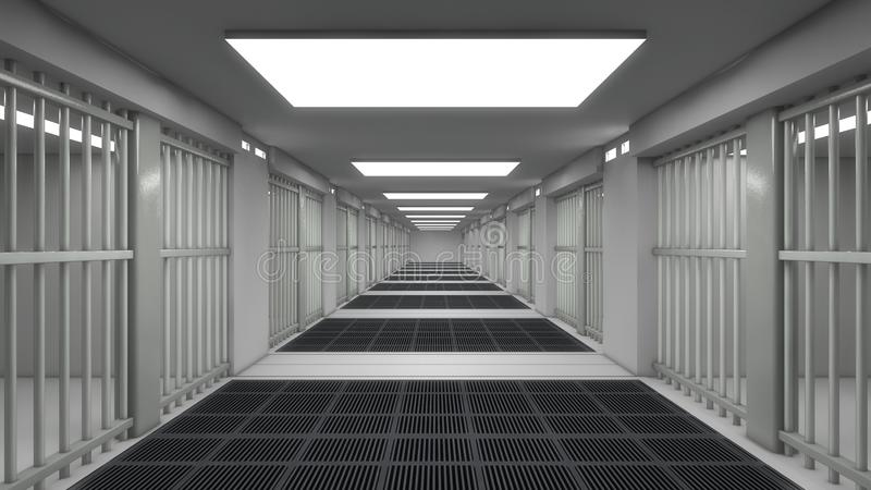 Inre och futuristisk arkitekturdesign för arrest stock illustrationer