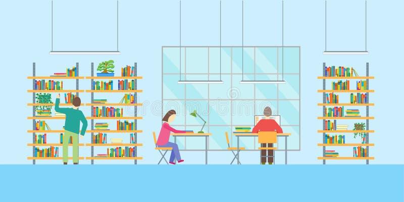 Inre offentligt bibliotek med möblemang och folk vektor royaltyfri illustrationer