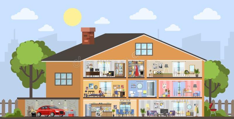 Inre plan för husbyggnad med garaget stock illustrationer