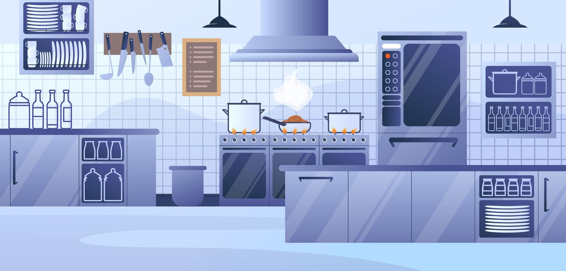 Inre plan vektor för modernt restaurangkök royaltyfri illustrationer