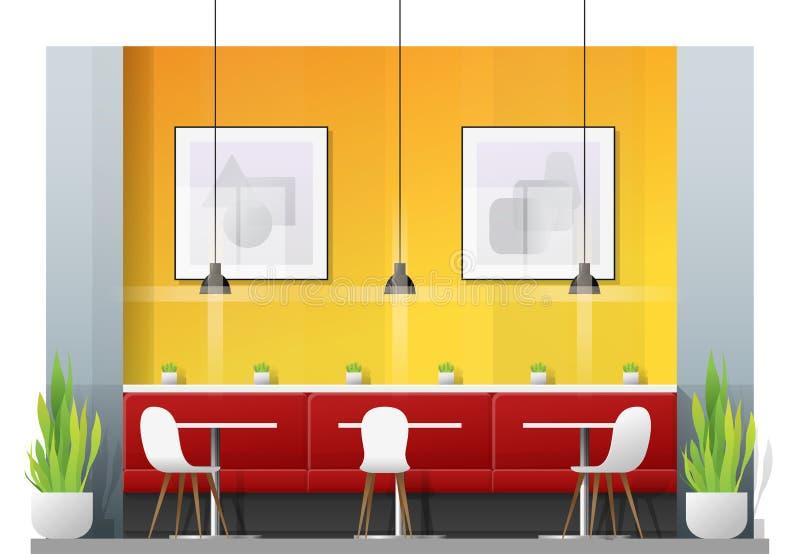Inre plats av den moderna restaurangen med tabeller och stolar för kund vektor illustrationer
