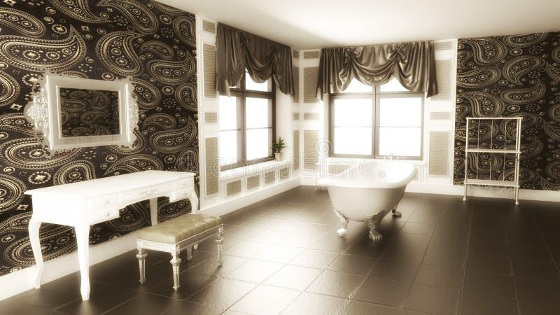 Inre plats för klassiskt badrum med sepiaeffekt vektor illustrationer