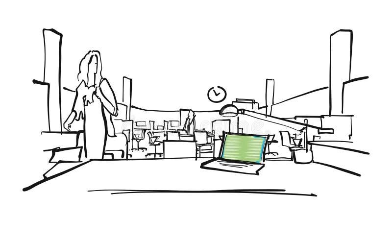 Inre platsteckning f?r modernt kontor royaltyfri illustrationer