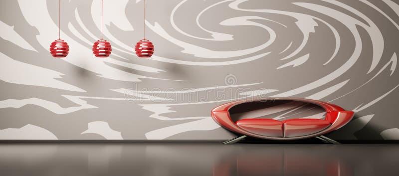 inre röd sofa 3d stock illustrationer