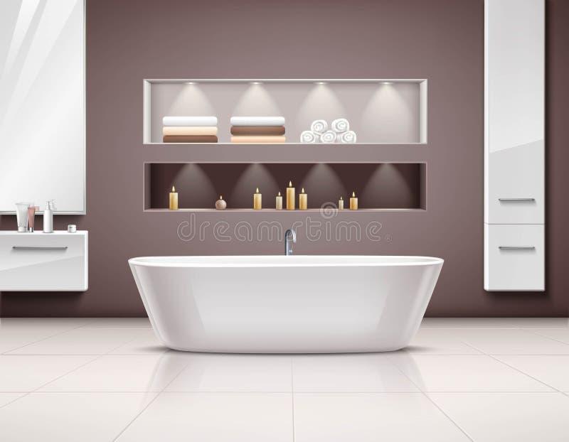 Inre realistisk design för badrum royaltyfri illustrationer