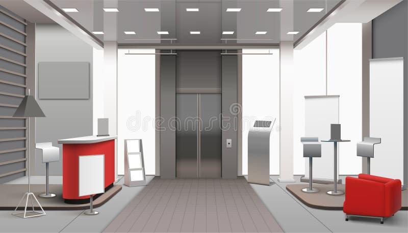 Inre realistisk design för lobby royaltyfri illustrationer
