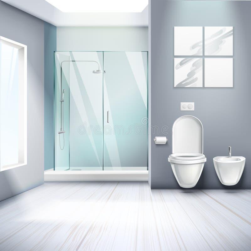 Inre realistisk sammansättning för enkelt badrum stock illustrationer