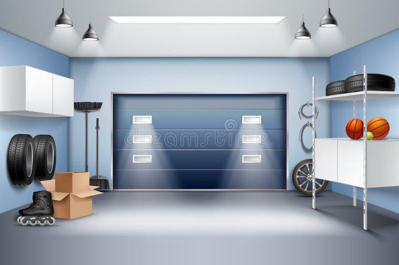 Inre realistisk sammansättning för garage royaltyfri illustrationer
