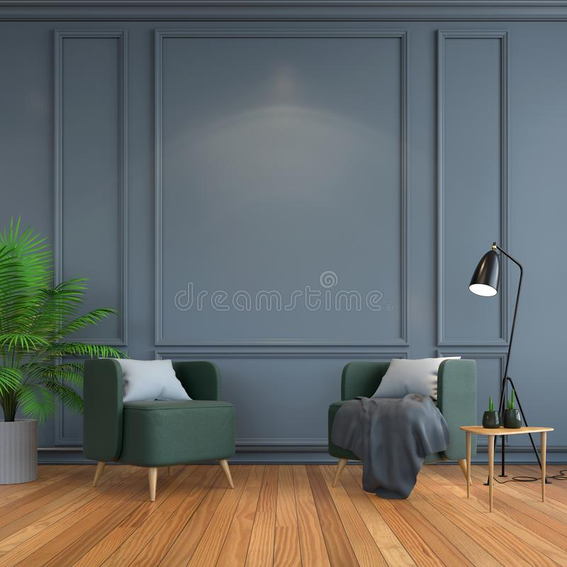 Inre rum för tappning, modernt möblemang, lyxig dekor, grön stolsvartlampa på den wood durken och mörker - grå ramvägg /3d vektor illustrationer
