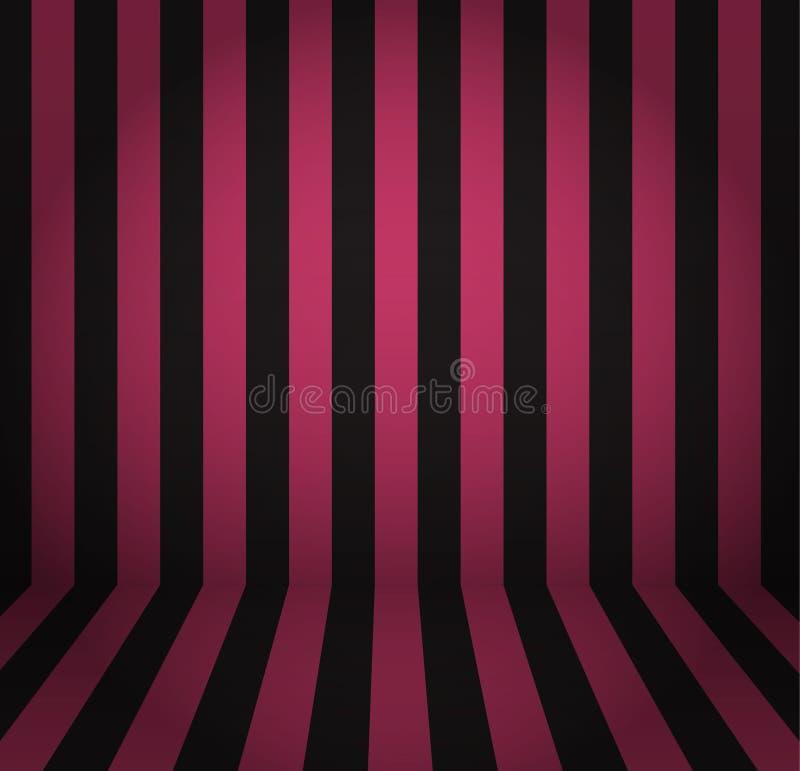 Inre rum med den randiga magentafärgade och svarta väggen och golvet vektor illustrationer