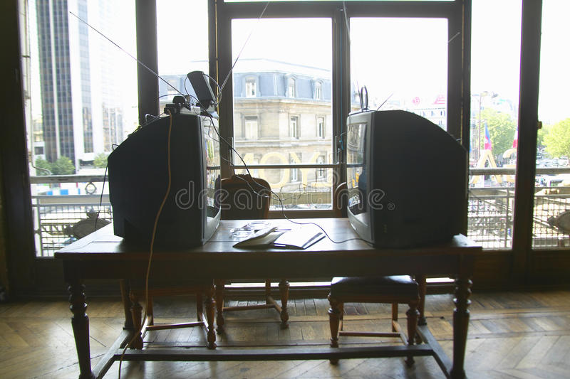Inre rum på Le Utbildning Bleu, Gare de Lyon, Paris, Frankrike royaltyfri fotografi