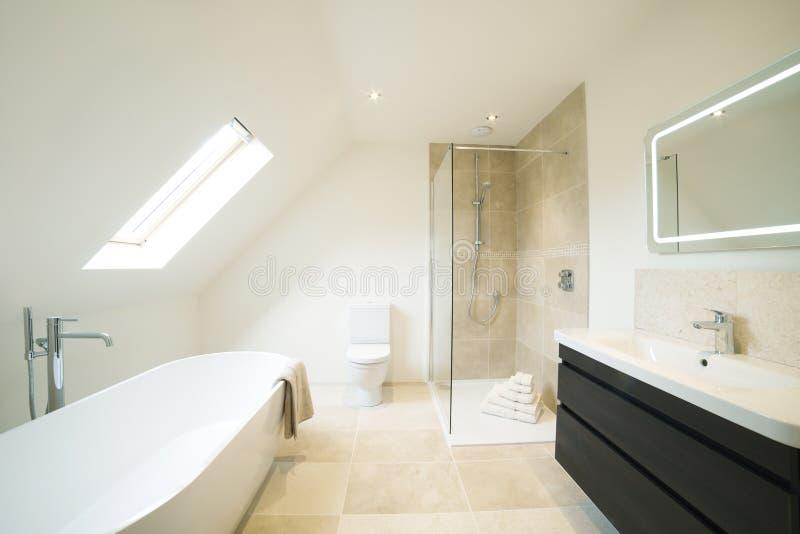 Inre sikt av det härliga lyxiga badrummet arkivbild