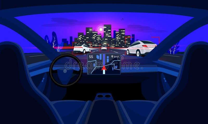Inre själv för autonom smart Driverless bil som kör i trafik och horisont för nattstadshuvudväg royaltyfri illustrationer