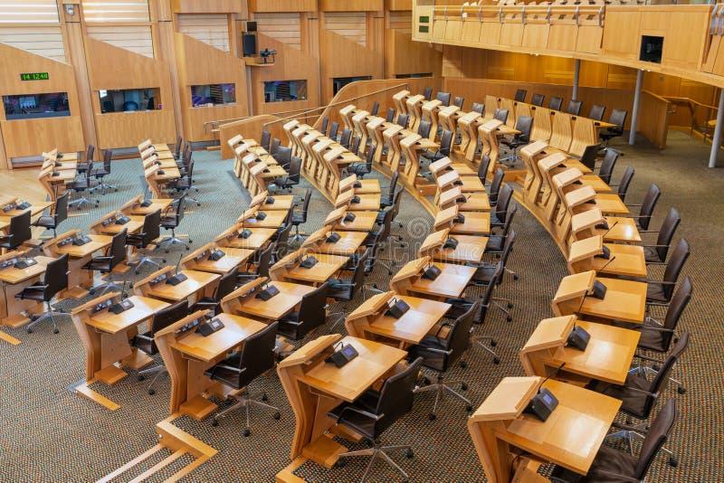 Inre skotska parlamentet, den debattera kammaren arkivbild