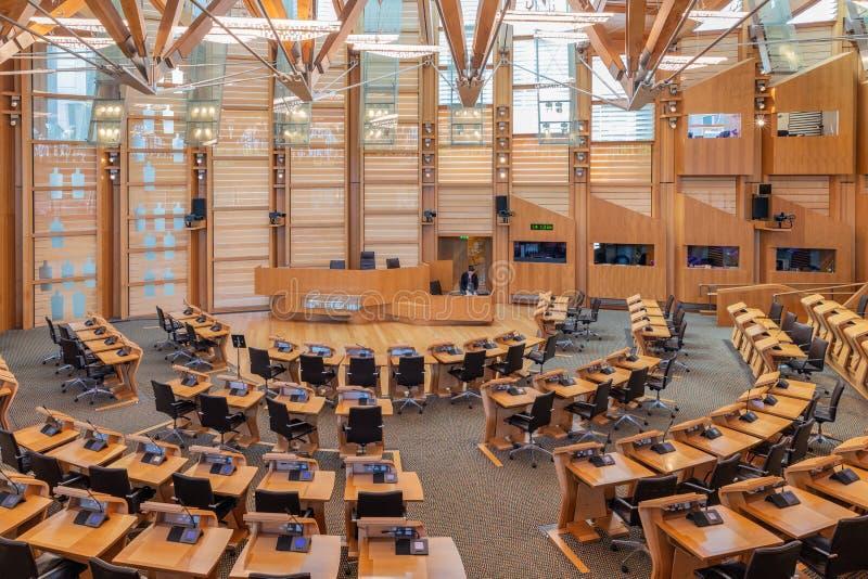 Inre skotska parlamentet, den debattera kammaren arkivbilder