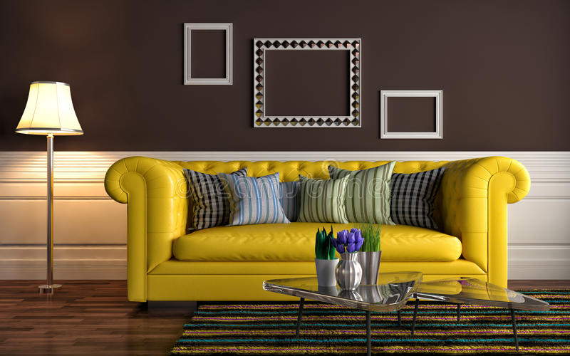 inre sofa illustration 3d stock illustrationer