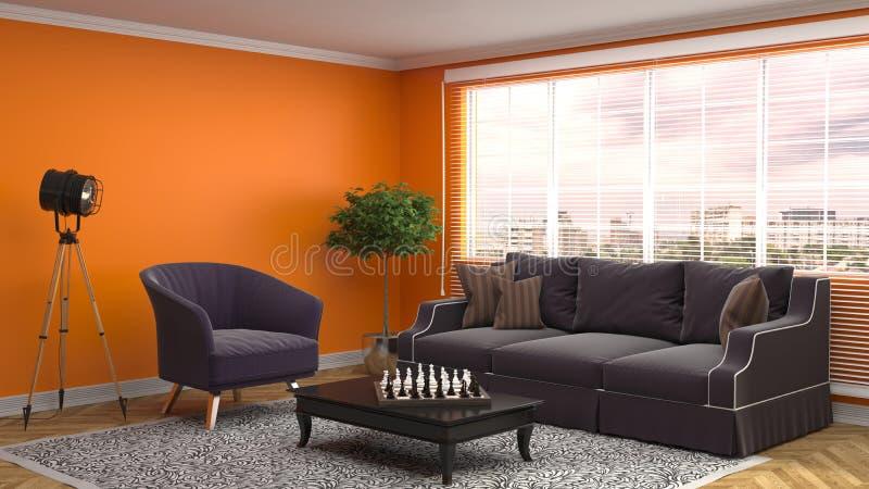 inre sofa illustration 3d vektor illustrationer