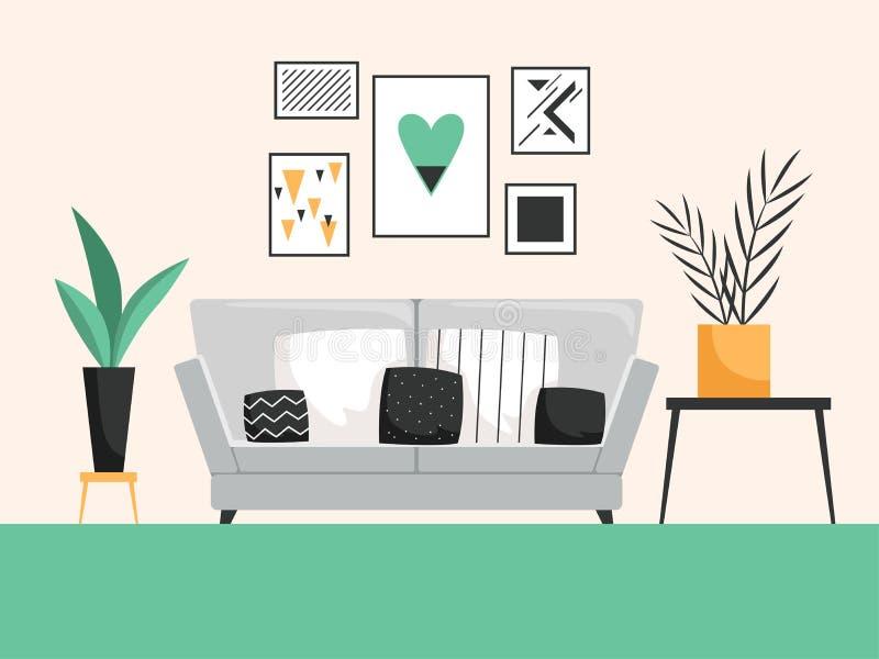 inre sofa Vardagsrum med detaljerad vektorsammansättning för cofortable möblemang vektor illustrationer