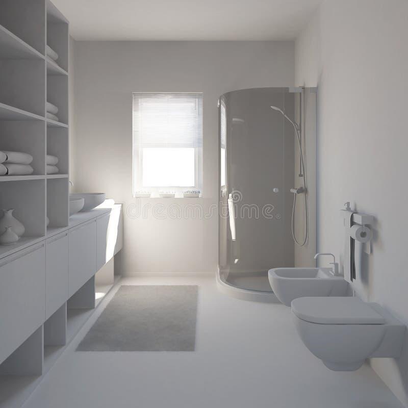 inre som 3D framför ett modernt badrum royaltyfria bilder