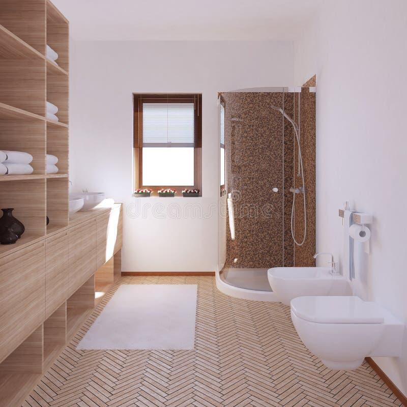 inre som 3D framför ett modernt badrum royaltyfri bild
