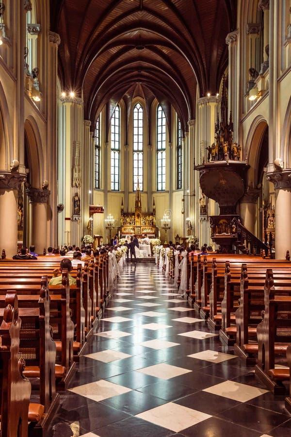 Inre St Mary av antagandedomkyrkan, Jakarta, Java, in fotografering för bildbyråer