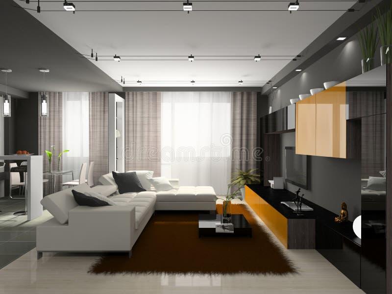 inre stilfullt för lägenhet stock illustrationer