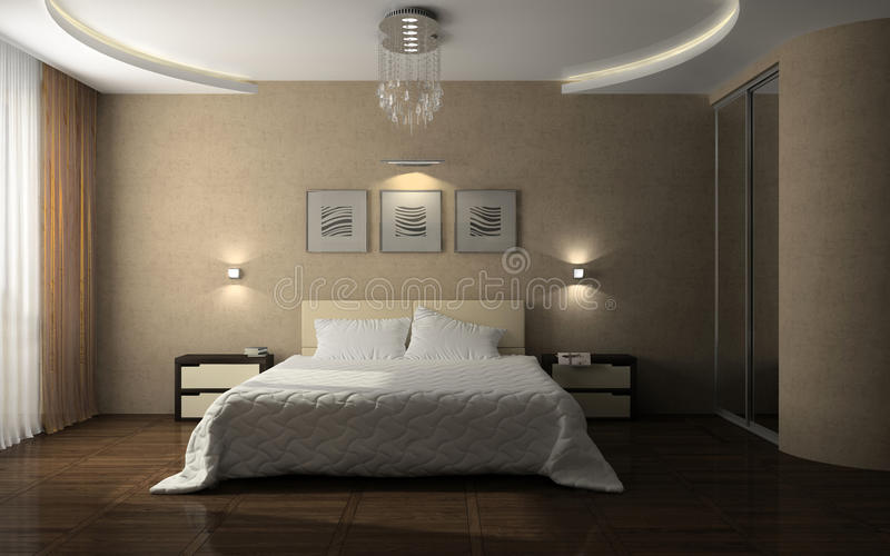 inre stilfullt för sovrum royaltyfri illustrationer