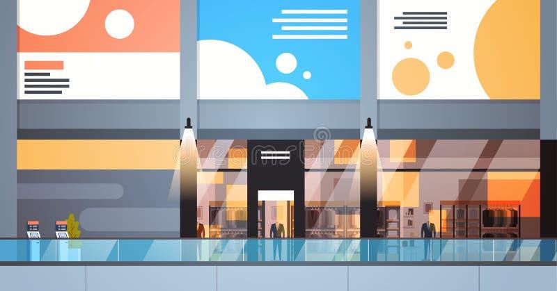 Inre stor detaljist för modern köpcentrum med inga personer stock illustrationer