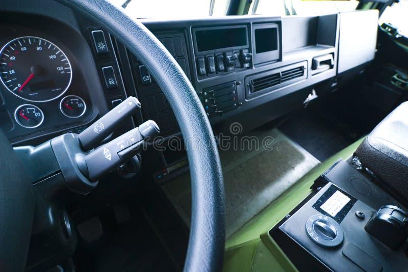 inre stor lastbil för cab royaltyfri bild