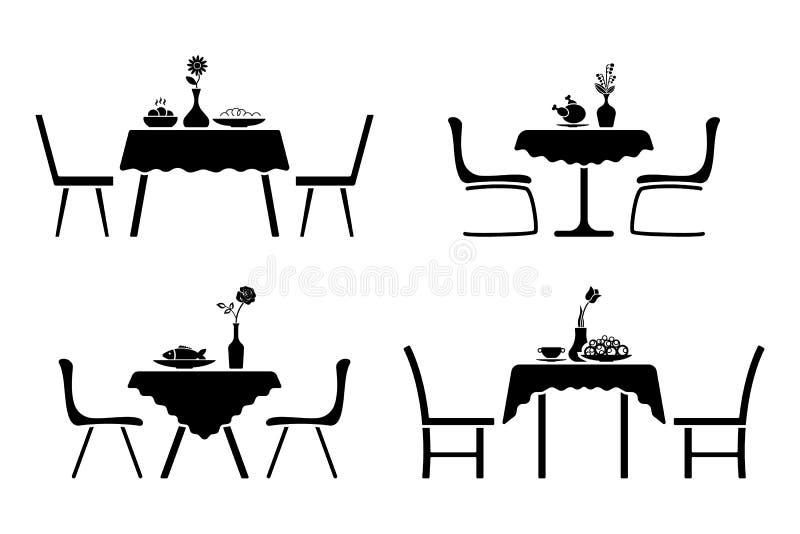 Inre svartvit symbolsuppsättning för kök Pictogram för tabell- och stolkafédesign stock illustrationer