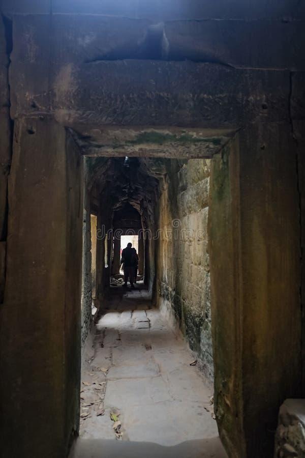 Inre ta-prohmtempel med den brutna banan, Angkor Wat Angkor Thom royaltyfri bild