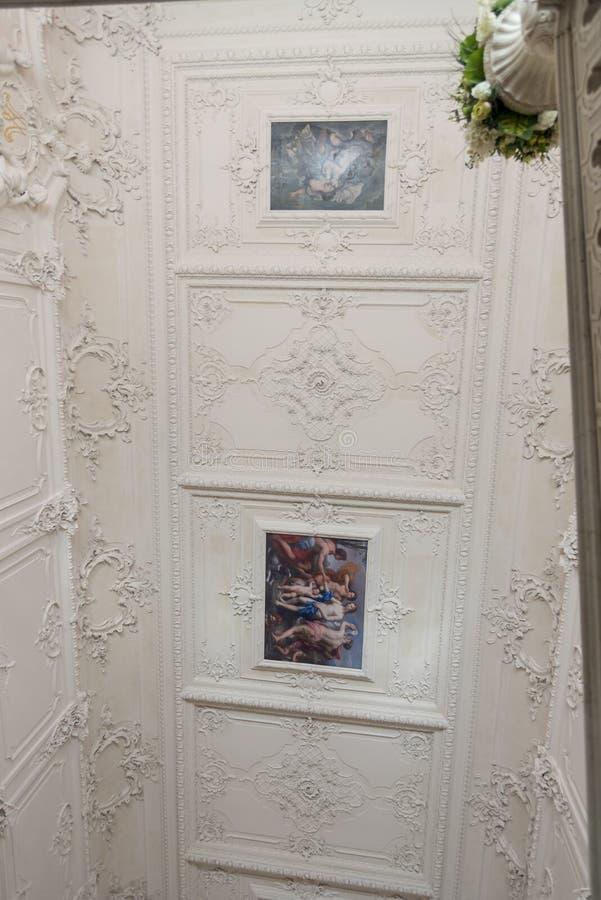 Inre takfreskomålning Catherine Palace St Petersburg Russia fotografering för bildbyråer