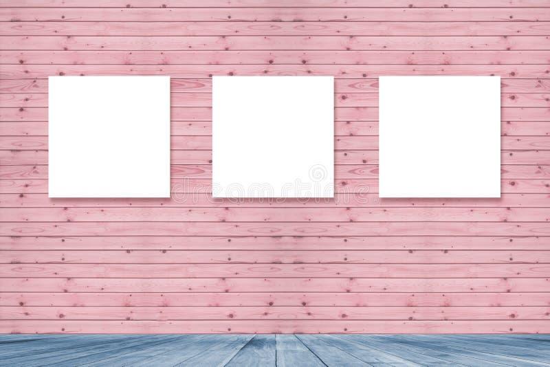 Inre tappning för rum med ramen för tre kanfas på den rosa pastellfärgade träväggen för bildadvertizing, blått trägolv royaltyfri illustrationer
