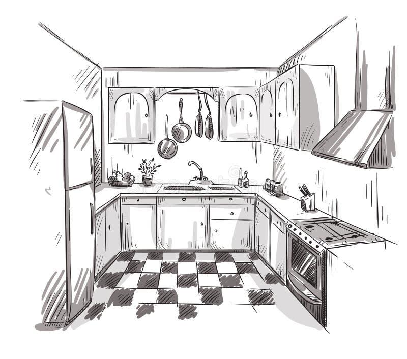 Inre teckning för kök, vektorillustration stock illustrationer