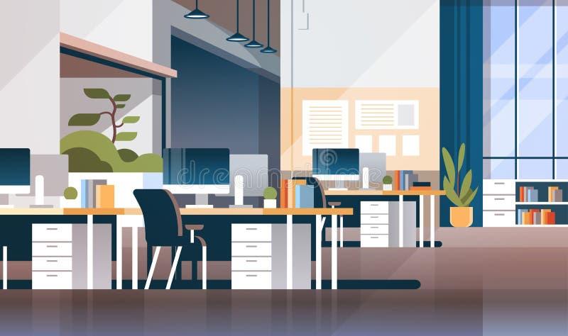 Inre tomt för modernt kabinett rumkontor för arbetsplats inget coworking plant horisontal för utrymme royaltyfri illustrationer
