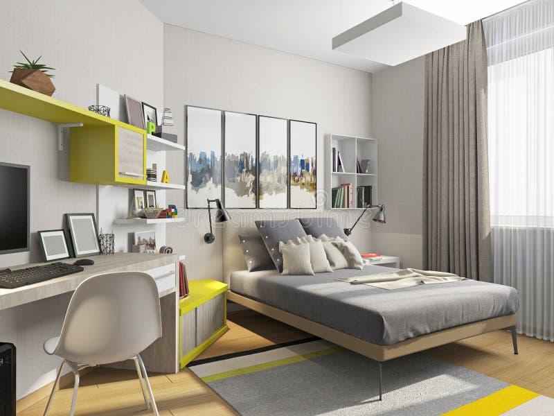 Inre tonårs- rum med en säng och ett skrivbord stock illustrationer